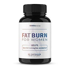 MAV Nutrition Womens Weight Loss Pills + Fat Burner for Appetite Suppressant, Non-GMO, Vegetarian Friendly Diet Pills, 60 Capsules