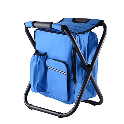WOAINID Silla Plegable al Aire Libre Silla Camping Portátil Ocio Pesca Taburete Creativo Moda Mochila Paqueta de Hielo Silla (Color : Blue)