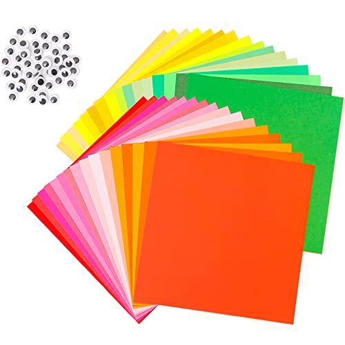 Tritart Papier origami I 220 feuilles de papier pliable pour origami japonais en 50 couleurs - 15x15cm , 10x10cm I 80g I 110 feuilles de chaque format