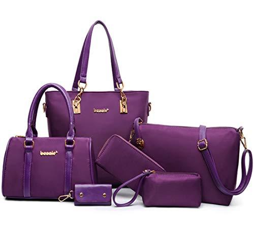 FiveloveTwo Womens Ladies 6 Pcs Handbag Set Hobo Top Handle Bag Totes Satchels Crossbody Shoulder Bags and Purse Clutch