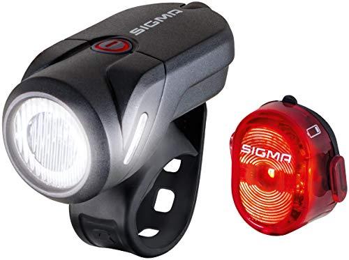 Sigma Sport Unisex– Erwachsene Aura 35USB/Nugget Beleuchtungsset, schwarz, one Size