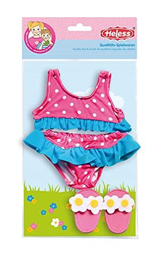 Heless 787 - Schwimm-Set für Puppen, 3 teilig, flotter Bikini mit Badeschläppchen, Größe 35 - 45 cm, für Badespaß an heißen Sommertagen