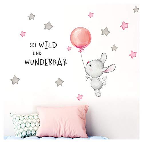 Little Deco Aufkleber Spruch sei wild & Hase I Wandbild M - 169 x 71 cm (BxH) I Luftballon Wandtattoo Kinderzimmer Mädchen Tiere Wandbilder Deko Babyzimmer Kinder DL325