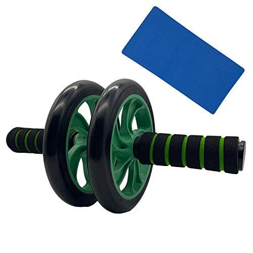 Avenmax Ab Dual Roller Wheel Includes Non- Slip Handles and Extra Thick Knee Mat Ab Roller Mute Wheel Abdominal Trainer Fitness Workout Training Equipment for Home Green