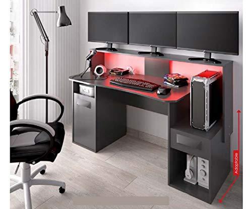 HABITMOBEL Mueble Gaming Escritorio Varios monitores Oficina o Gamers, 97x154x60 cm Grafito con Leds