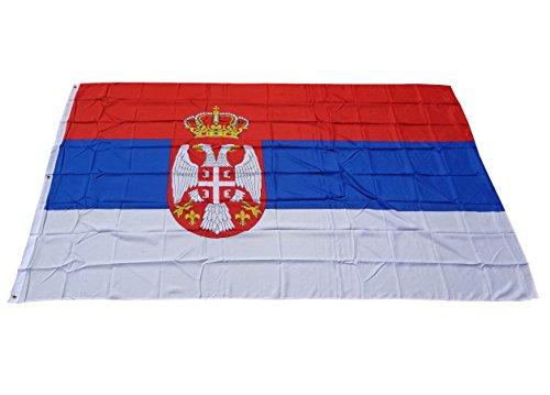 Top qualité - Drapeau Serbie Drapeau marchandises, indéchirable, pas bon marché de la Chine, plastique, 250 x 150 cm Poids env. 100 g/m²