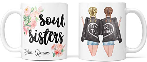 Pretty Phoxie Custom Best Friend Coffee Mug for Women - Long Distance Friendship - Choose Hair - Skin Color Personalized Cup with Names for Besties, Bff, Good Friends Birthday - Moving Away