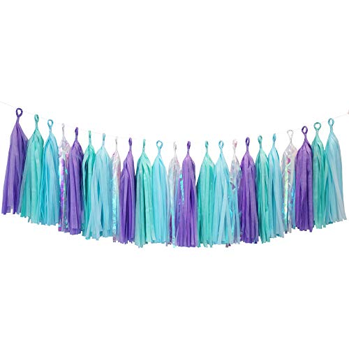 Tissue Paper Tassel DIY Party Garland Decor for All Events & Occasions - 20 Tassels Per Package (Shimmering Mermaid Combo)
