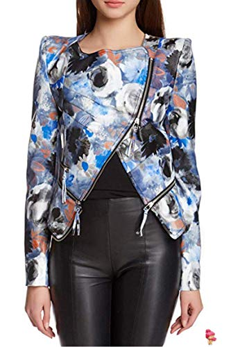 TOV Sassy Women's Long Sleeve Faux Leather Floral Print Rider Moto Motorcycle Jacket Outerwear Aqua