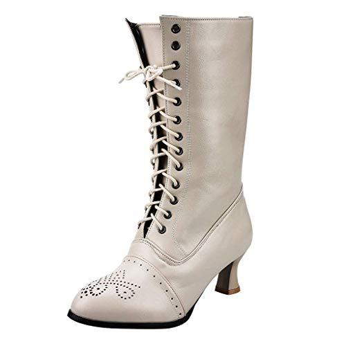 WHSHINE Damen Vintage Brogue Schnürstiefel Combat - Gothic Steampunk Mid-Calf Stiefel mit Louis Heels - Damen Cap Toe Kitten Heels Stiefel