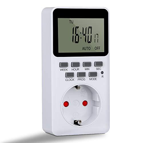 Komake Zeitschaltuhr Digital, Steckdose mit 20 Konfigurierbaren Wöchentlichen Programme Programmierbarer Plug-In-Timer-Schalter, HD LCD Display