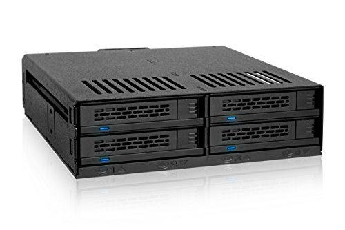 ICY DOCK ExpressCage MB324SP-B - Wechselrahmen für 4X 2,5 Zoll (6,4cm) SATA/SAS SSD/HDD in 1x 5,25 Zoll (13,3cm) Schacht, schwarz