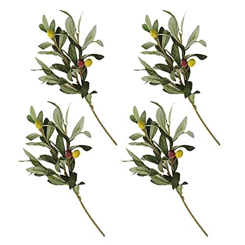 JYCAR - 4 rami di ulivo artificiali con frutta, finto albero di piante di olive, foglie artificiali, foglie verdi, per decorazioni fai da te per matrimoni, feste di casa (35,6 cm di lunghezza)