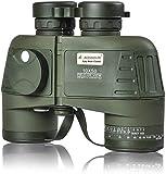 10x50 Binocolo Marino per Adulti, Binocoli Militare Impermeabile con Bussola Telemetro BAK4 Prisma Lente FMC Antiappannamento per la Navigazione Birdwatching Caccia