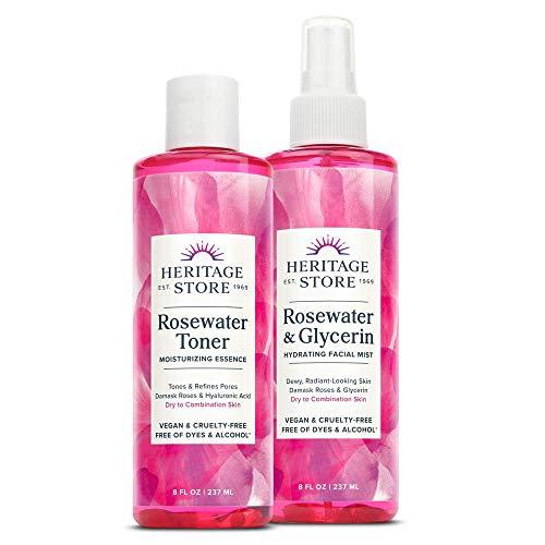 Heritage Store Rosewater & Glycerin and Rosewater Toner | Deep Hydration Bundle for Dewy, Glowing Skin | Vegan | 8oz ea
