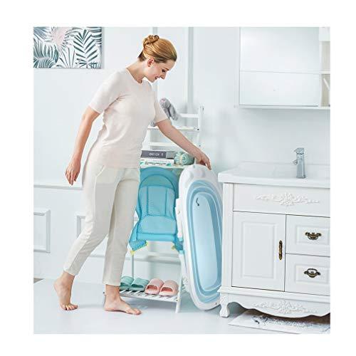 Fascol Bañera Plegable para Bebés 0-36 Meses, Baño Bebe con Red de Seguridad, Longitud de La Piscina para Bebés 82 cm (Azul)