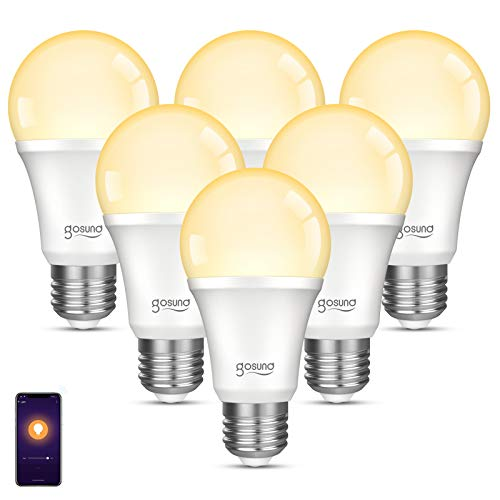 gosund Smart Light Bulb Compatible with Alexa, Google Home, WiFi LED Bulb, E26 Dimmable Bulb A19 No Hub Required 2700K Warm White 8W Lights 75W Equivalent Lighting 6pack