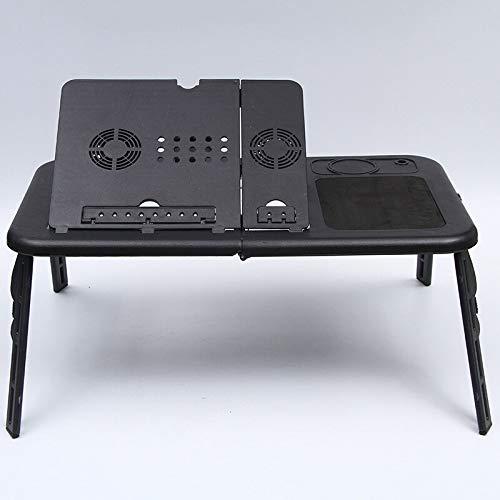 Escritorio plegable portátil con dispositivo de refrigeración dual USB Información del cuaderno de la computadora con el soporte de los mouse y el soporte de la taza del soporte del cuaderno del cuade