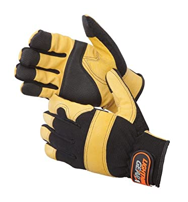 Liberty Lightning Gear GoldenKnight Grain Pigskin Leather Mechanical Glove with Reinforced Fingers and Thumb Tips
