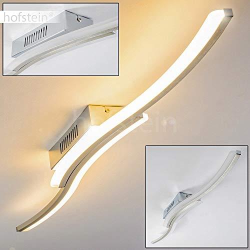 LED Deckenleuchte Rosselo, längliche Deckenlampe aus Metall in Nickel-matt in Wellenform mit 2 geschwungenen Lichtleisten, 20 Watt, 1000 Lumen, Lichtfarbe 3000 Kelvin (warmweiß)