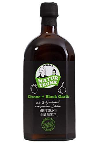 OHNE Konservierungsstoffe! Renates NaturTrunk N° 5 Zitrone + Black Garlic (schwarzer Knoblauch) 700ml Glasflasche.