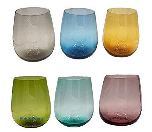 Pagano home 6 bicchieri vetro per acqua/wisky colori assortiti multicolore capacità 470 ml mod 8009 (rosso trasparente lilla verde arancio celeste