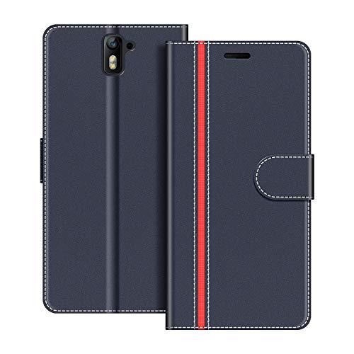 COODIO Handyhülle für OnePlus 1 Handy Hülle, OnePlus One Hülle Leder Handytasche für OnePlus One/OnePlus 1 Klapphülle Tasche, Dunkel Blau/Rot