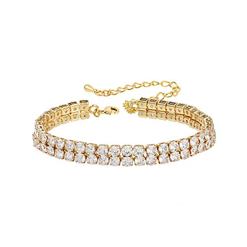 LWSHOP LYRStore886 2 Rows Round Cubic Zirconia Crystal Tennis Bracelet 17cm+5cm Wedding Bridal Jewelry Exquisite workmanship (Color : Gold color)