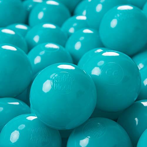 KiddyMoon 100 ∅ 7Cm Kinder Bälle Spielbälle Für Bällebad Baby Einfarbige Plastikbälle Made In EU, Türkis