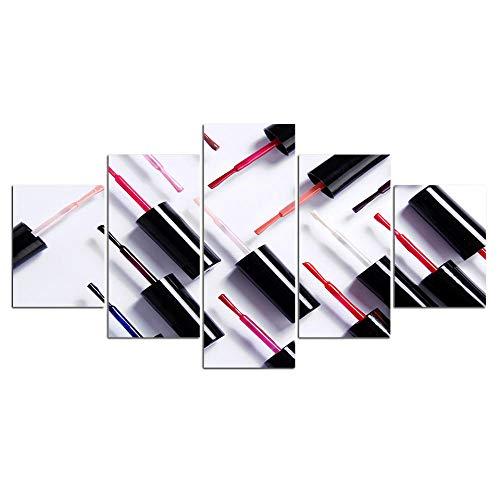 Lienzo De Decoración Del Hogar,Pintura De Esmalte De Uñas,Cuadros De Salón,Arte De Pared,Impresiones En Hd,Póster Modular De 5 Paneles Para Sala De Estar,Sin marco