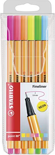 Caneta Hidrográfica, Stabilo, Point 88 Fineliner, 55.5300, 0.4mm, 6 Cores Neon