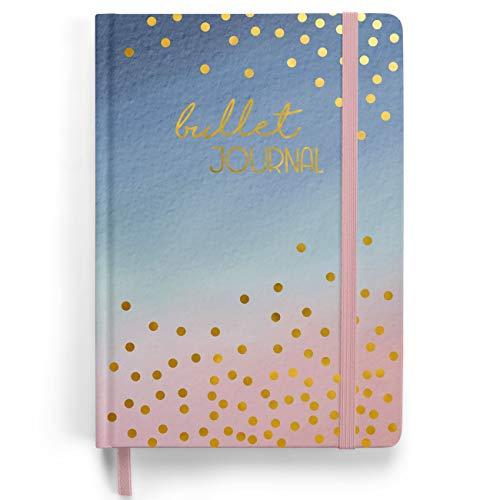 Premium Bullet Journal Starter Set - (Watercolor) - Notizbuch A5 gepunktet | 192 Seiten dickes 120g/m² dotted Papier | mit Punkteraster, Gummiband, Stifthalter, Dreieckstasche, Anleitung