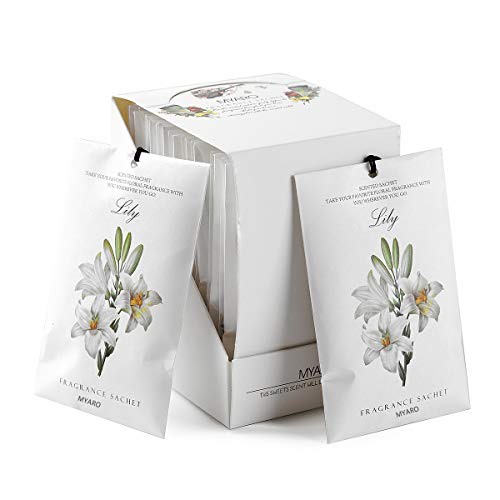 MYARO 12 Packs Lily Scented Sachets for Drawer and Closet, Long-Lasting Sachets Bags, Home Fragrance Sachet for Lover