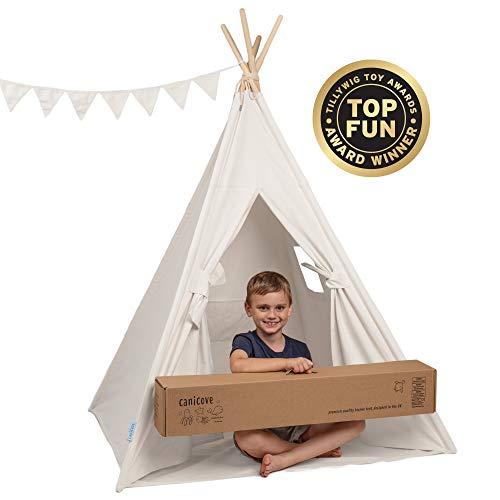 Canicove Tipi Zelt Für Kinder - Faltbares Indoor & Outdoor Set Baumwolle Naturfarben mit Massivholzpfosten & Jux Flaggen für 2 Jungen & Mädchen (Weiß) Segeltuch Wigwam
