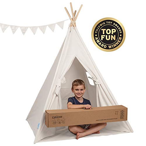 Canicove Teepee Tent for Kids - Award Winning 100% Cotton Play Tent - Large Indoor/Outdoor Tipi for Boys & Girls + Free Fun Flags! (White)
