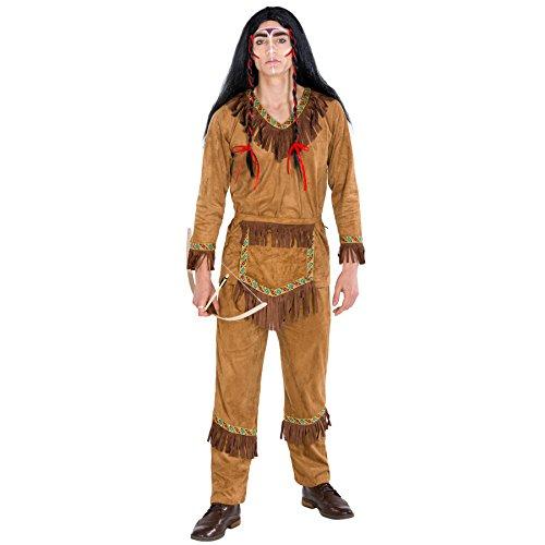 TecTake dressforfun Herrenkostüm Indianer Häuptling | Kostüm + Gürtel in Taschenoptik | Apache Indianer Faschingskostüm (M | Nr. 300555)