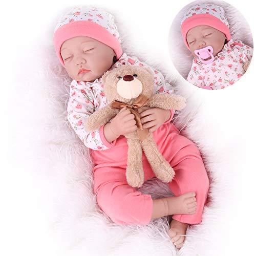 CHAREX Realistic Reborn Baby Dolls Girl Sleeping, 22inch Lifelike Baby Dolls Handmade Soft Vinyl Weighted Newborn Dolls Gifts/Toys for Kids Age 3+
