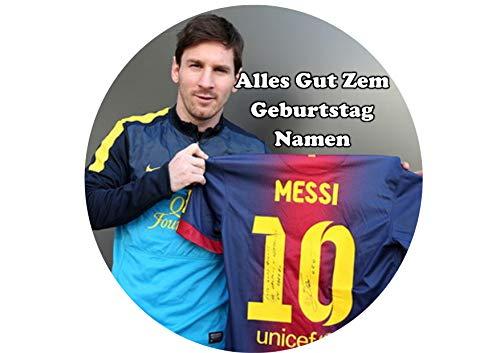 Lionel Messi hält Barcelona Trikot personalisierter Name 8 Zoll Runde Zuckerguss Topper Lionel Messi holding Barcelona jersey Personalized Name 8 Inch Round Frosting Topper