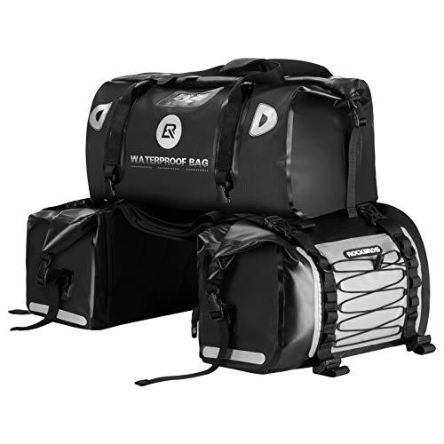 ROCKBROS Double Large Motorcycle Pannier Bag Luggage Saddle Bag Waterproof Motorcycling Rear Seat Carrier MTB Travel Bag Seat Trunk Motorcycle Bags PVC Double Saddlebags Large Capacity 55L+62L