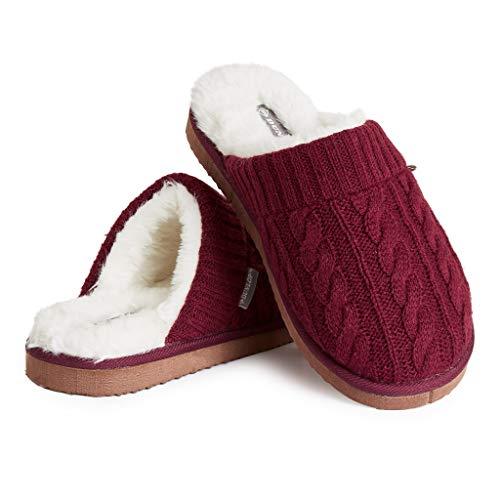 Dunlop Zapatillas Casa Hombre, Pantuflas Hombre De Forro Polar Suave, Zapatillas Hombre con Suela Antideslizante Interior Exterior, Regalos para Hombres y Chicos Adolescentes (Granate, Numeric_46)