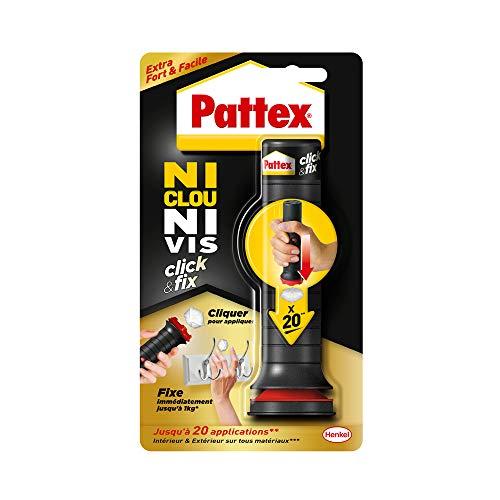 Pattex Ni Clou Ni Vis Click & Fix, colle de fixation sous forme d'applicateur pré-dosé, jusqu'à 20 doses, colle rapide sur tous matériaux, colle blanche, 30 g