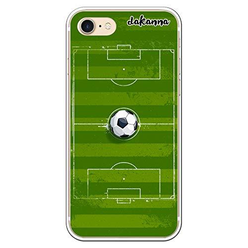dakanna Funda Compatible con iPhone 7 - iPhone 8 | Campo y balón de fútbol | Carcasa de Gel Silicona Flexible Transparente