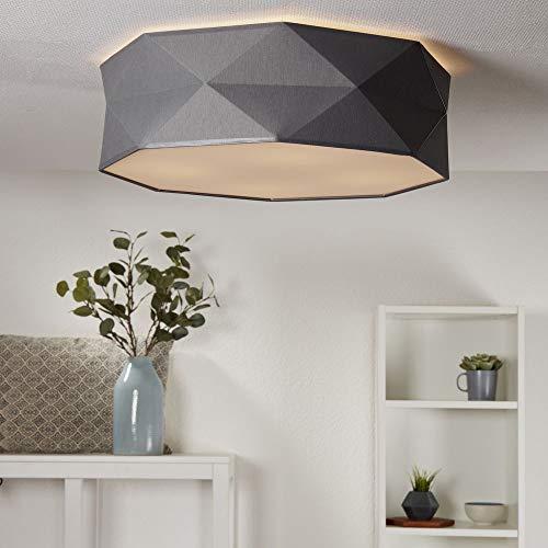 Deckenlampe Samuel aus Stoff, grau, 4 x E27-Fassung, Ø52cm | Deckenbeleuchtung edel Wohnzimmerlampe industrie Flurleuchte Eingangsbereich Designerleuchte Schlafzimmerlampe Küchenlampe Leseleuchte