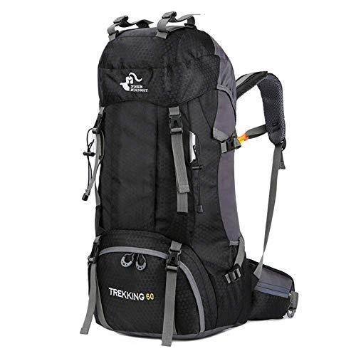 MCLJR Sac à Dos de randonnée, 60l - Sac à Dos de Camp léger et imperméable, adapté aux Hommes et aux Femmes Qui pratiquent Le Ski Trekking Escalade Alpinisme,Black