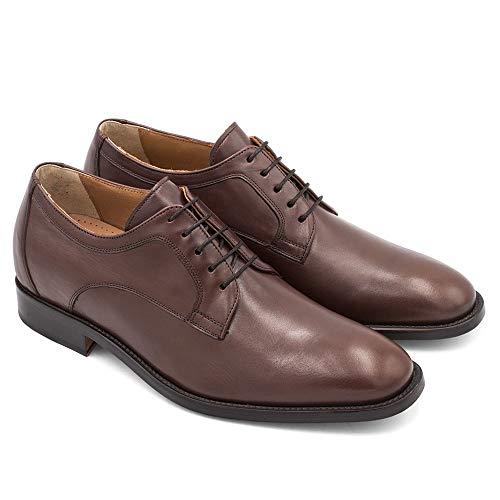 Zapatos de Hombre con Alzas Que Aumentan Altura hasta 7 cm. Fabricados en Piel. Modelo Boston Marron 43