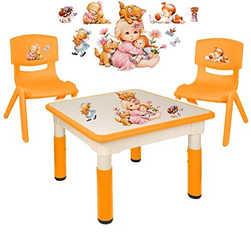 alles-meine.de GmbH Sitzgruppe für Kinder - Tisch + 2 Kinderstühle - Größen & Motiv & Farbwahl - Kinder & Tierbaby / orange - höhenverstellbar - 1 bis 8 Jahre - Plastik - für INN..
