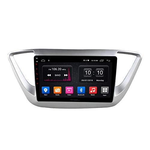 Navegador GPS Estéreo para Coche Android Unidad Principal De Radio para Hyundai Verna 2016-2018 Soporte Mirror Link/SWC/Bluetooth/USB/WiFi/Dab/AUX