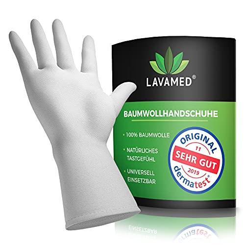 LAVAMED Dermatest: Sehr Gut Baumwollhandschuhe - extra weiche Baumwoll-Handschuhe aus 100% Baumwolle - Trikothandschuhe - weiße Zwirnhandschuhe - Premium Kosmetikhandschuhe (3 Paar, L)