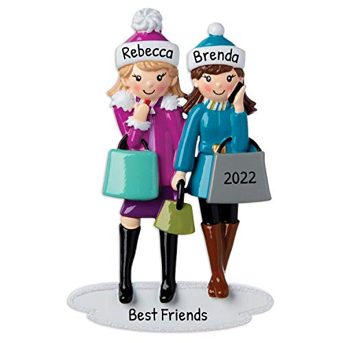 Personalized Girls Shopping Christmas Tree Ornament 2020 - Friends Hobby Love Best Fashion Partner Mother Daughter Mall Women Therapy Fashionable Teen Hang-Out Holiday Tradition - Free Customization