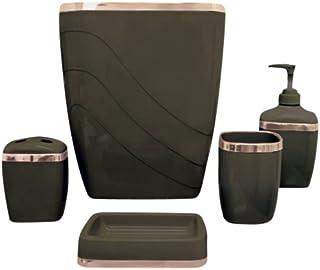 Carnation Home Fashions Set de Accesorios plásticos para el baño, 5 Piezas, Color marrón